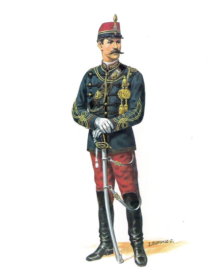Chile; Granaderos a Caballo, Officer, 1878