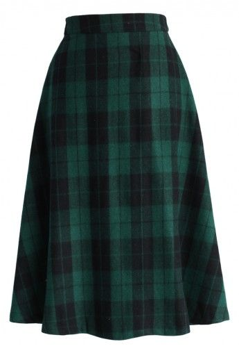 Green Tartan Midi Skirt // Up to 40% off for #cybermonday