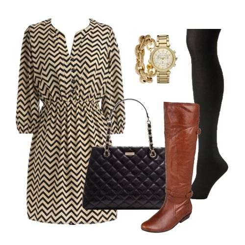 chevron dress from modcloth + tights + boots = perfect fall work outfit