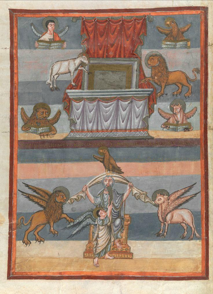 Престол уготованный с символами евангелистов. Агнец Божий и Лев Иуды; Франция. Тур. Аббатство Св. Мартина (abbaye Saint-Martin de Tours); IX в