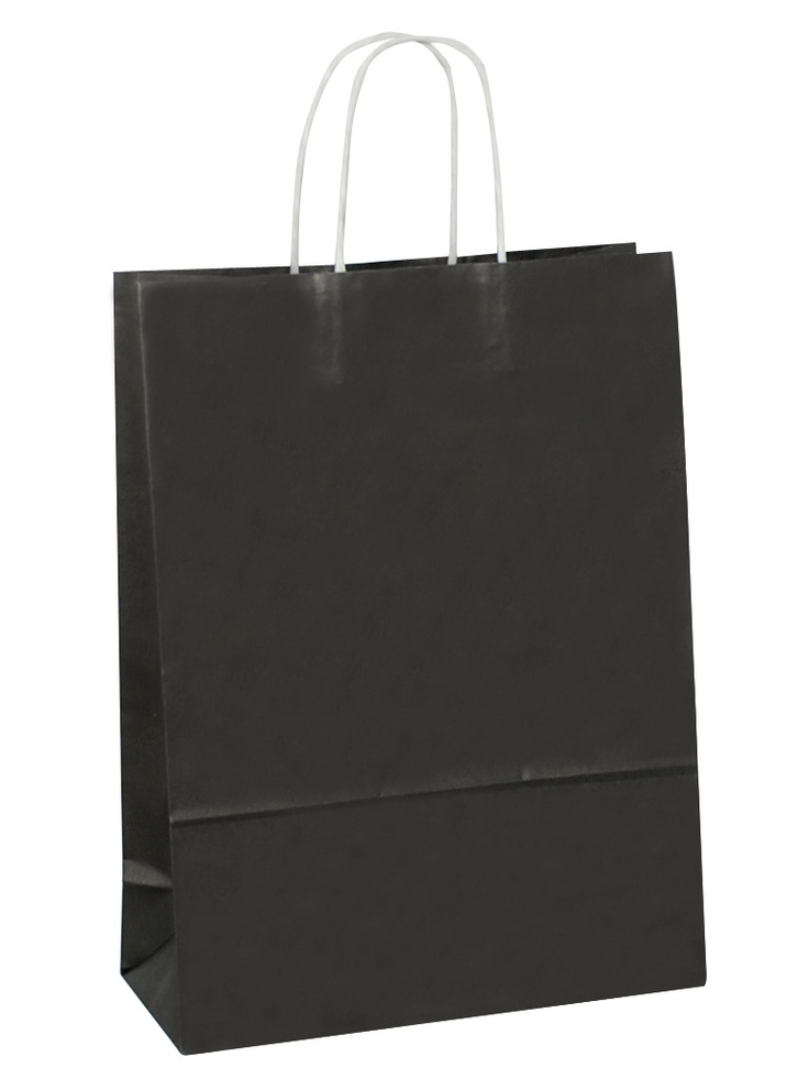 Introducing White Carrier Bag Twisted Handle - Solid Black,Large size.Be the first to get it at our site.