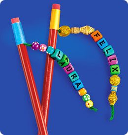 pencil toppers- Let your kids customize their pencils. First let them make a string of items ( beads, noodles, straws, and buttons are a few examples). Then duck tape the end of a string to the pencil. They make school so much more fun.