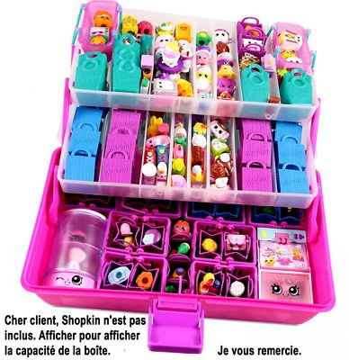 Toy Organizer Carrying Case, 3 Levels, Organize Girls Shopkins, Store Small Toys