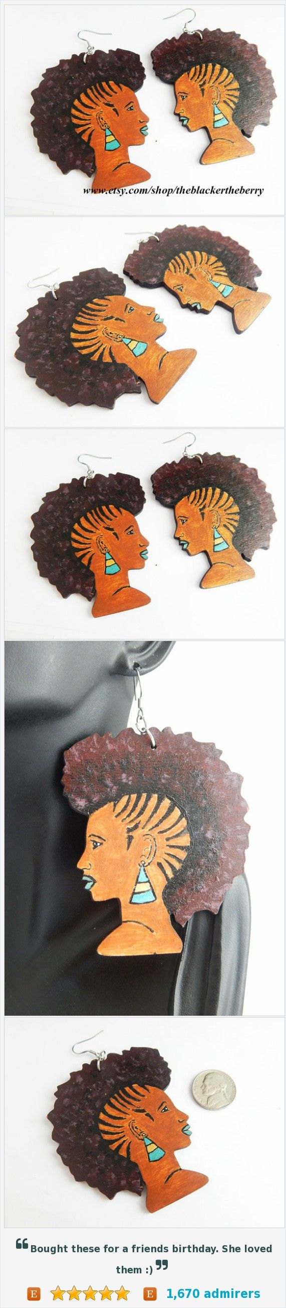 Afropunk Black Girl Rocker Earrings African American Hand Painted Handmade Mohawk Natural Hair Earrings African Wood afro Earring @Sweeterthejuice https://www.etsy.com/listing/451438160/