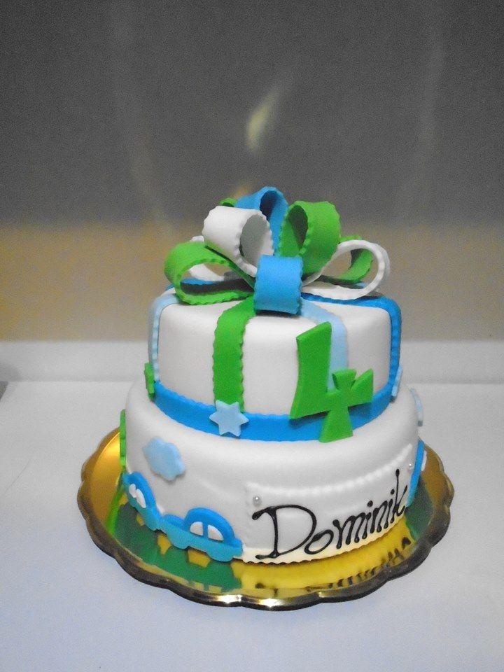 Modro-zelený dvoupatrový dortík