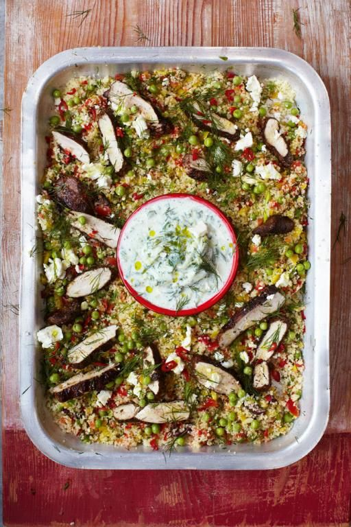 gorgeous greek chicken with herby vegetable couscous & tzatziki | Jamie Oliver | Food | Jamie Oliver (UK) - the tzatziki was superb. The rest good. Prefer Shelly's Mediterranean casserole