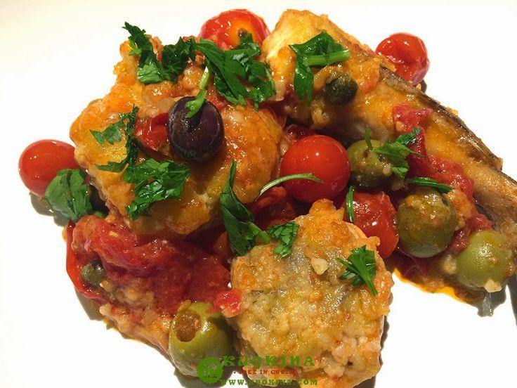 Coda di rospo con pomodorini e olive.- Kuokina. com -
