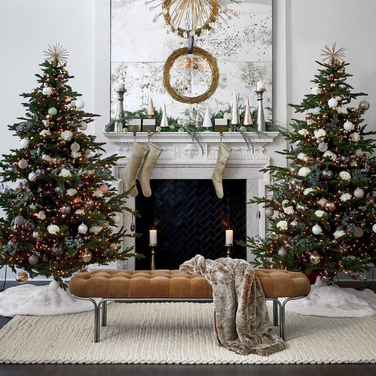 Beautiful Two Smaller Scale Trees Next To Fireplace Christmas Fireplace Decor Christmas Fireplace Christmas Home