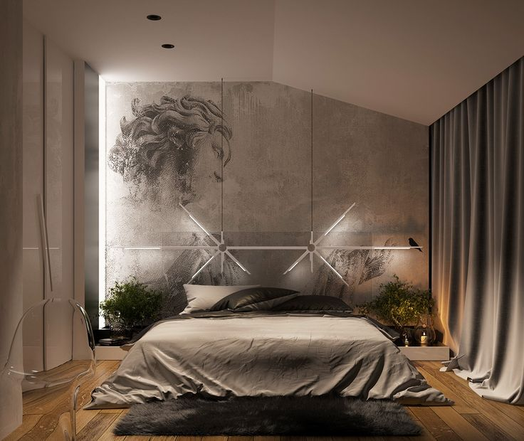 Stunning bedroom lighting design which makes effect floating of the bed roohome