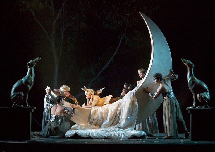 """Michael Drummond as """"Puck"""" (center) with fairies in The Old Globe's 2006 Shakespeare Festival production of A Midsummer Night's Dream, by William Shakespeare, directed by Darko Tresnjak, in the Lowell Davies Festival Theatre, Photo by Craig Schwartz."""