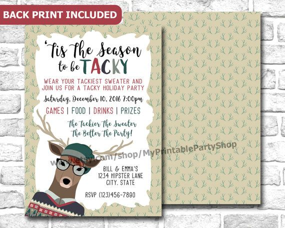 Hipster Tacky Christmas Sweater Party Invitation For Geeks