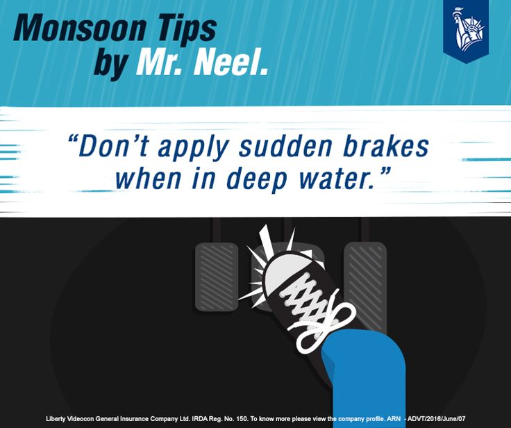 Applying sudden brakes in water will lead to your car skidding off the road