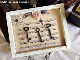 Espositore chiavi antiche in stile vintage
