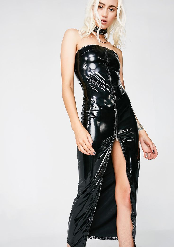 Be Your Girl Vinyl Dress cuz you takin' what has always been yourz. Get yours with this strapless vinyl dress that you can zip-up on the front.  #dollskill #kinksnwinks #kinkychicks  #giftideas #hisandhers