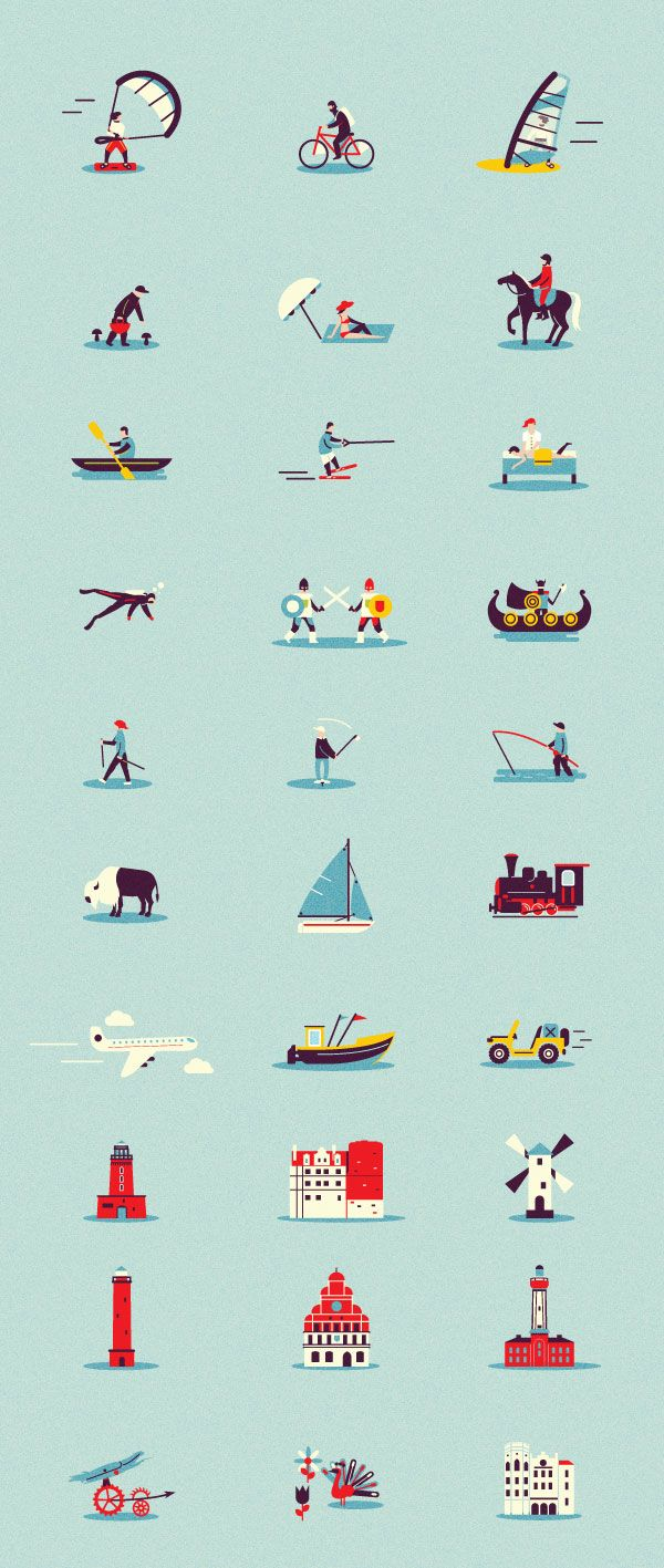 Several character illustrations and objects created by Adam Quest, a Poznań, Poland based illustrator.