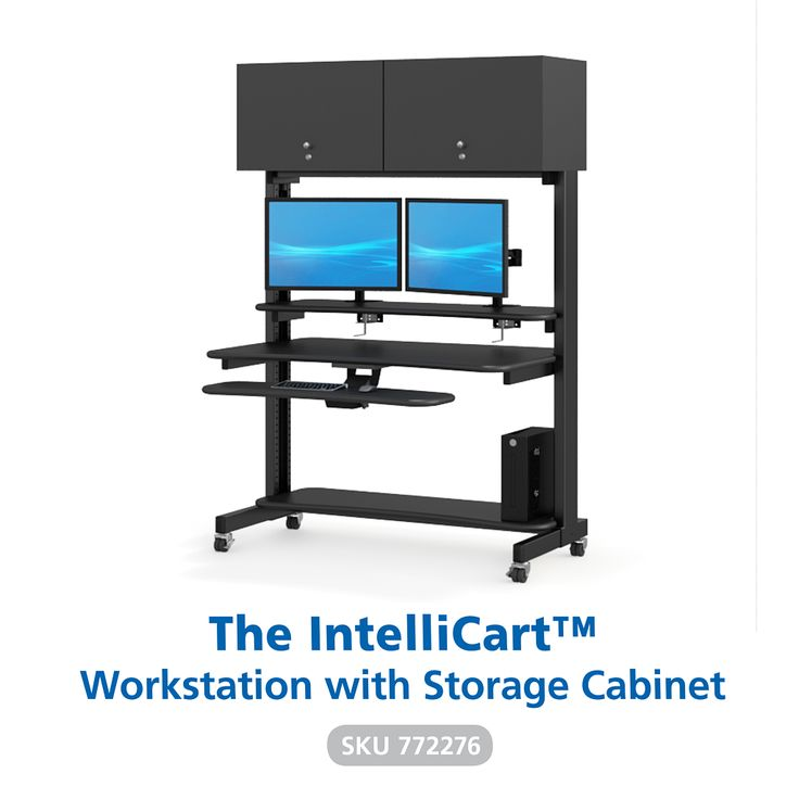 The IntelliCart provides the space-saving solution, with its flipper cabinet and mobility, you are looking for. Starring a cutting/edge design and flexibility, that most other workstations do not provide, while including large cabinets, arm holders, dual desk surfaces and many more custom options to make it fit for you.