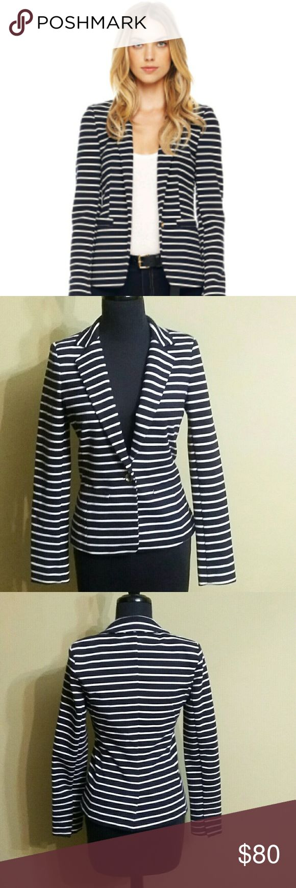 Michael Kors Blazer NWOT Michael Kors navy blue and white striped Blazer. Set alarm it has one gold button on it which is nice accent.  It is new without the tags. Michael Kors Jackets & Coats Blazers