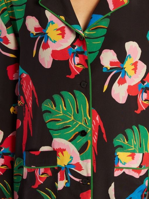 Valentino Tropical Dream-print silk crepe de Chine shirt