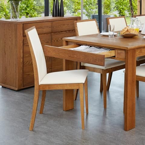 Olten Cream Dining Chair in Oak Finish (Pack Of Two)