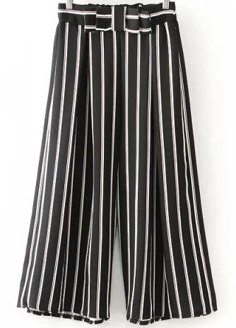 Black Bow Vertical Stripe Wide Leg Pant-SheIn