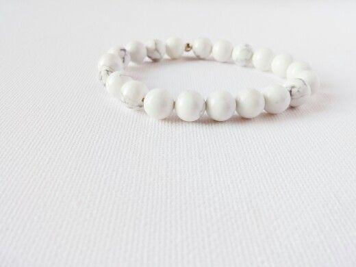 White Howlite mala bracelet Facebook.com/aumshantidesigns