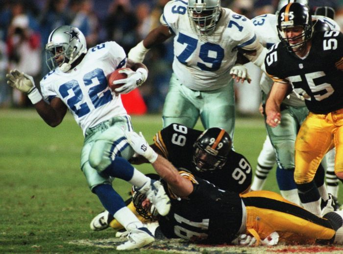 Former Dallas Cowboys running back Emmitt Smith was one of six Cowboys named to the NFL's Super Bowl 50 Golden Team.