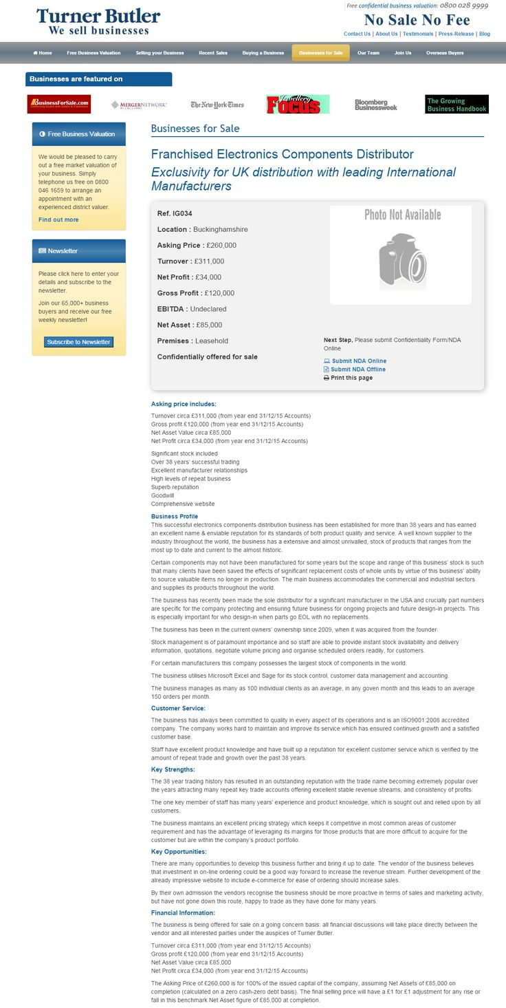 Business for sale Franchised Electronics Components Distributor Exclusivity for UK distribution with leading International Manufacturers Ref. IG034 Location Buckinghamshire Asking Price £260,000 RupertCattell TurnerButler we sell business Rupert Cattell Businesses for sale Turner Butler Testimonial Successful Business Broker Selling your business wesellbusiness #turnerbutler #businessesforsale #wesellbusinesses