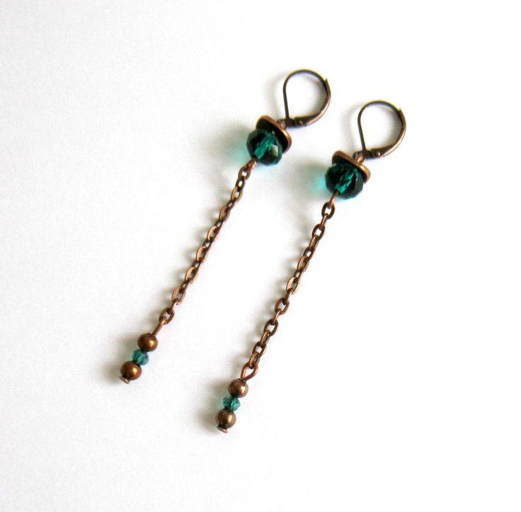 Boucles d'oreilles pendantes cuivre vert émeraude, rétro chic, cristal : Boucles d'oreille par color-life-bijoux