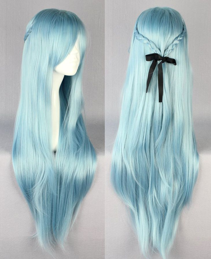Frosta wig New Sword Art Online Asuna Yuuki violet cosplay wig Light Blue-in Wigs from Beauty & Health on Aliexpress.com