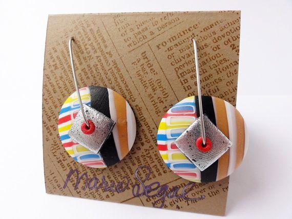 Bauhaus Style series disk earrings 1 by Marie Segal by mariesegal