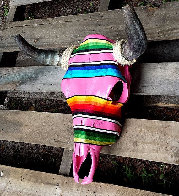 Serape Hand Painted Real Cow Skull by TheSeekerShop on Etsy