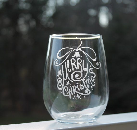 The Holiday Season is fast approaching. Are you looking for a unique gift idea? Our etched wine glasses would make a thoughtful Christmas gift for any wine lover. Each glass is handmade to order. Holds 17oz. Etched Stemless Wine Glass Christmas wine glass  by StoneEffectsMD, $13.00 www.stone-effects.com