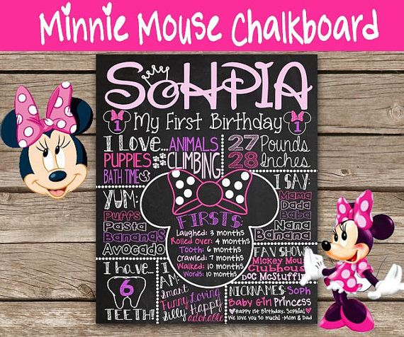 Pink and Purple Minnie Mouse first birthday chalkboard poster via CustomChalkPosters.com! Printable chalkboard for girl's 1st birthday party