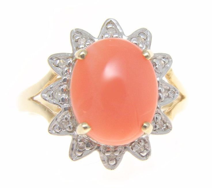 GENUINE NATURAL OVAL CABOCHON PINK CORAL DIAMOND RING SOLID 14K YELLOW GOLD #Solitaire