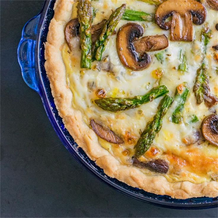 Roasted Asparagus and Mushroom Quiche by @trailstotable - #KeepOnCooking #Breakfast #Brunch #Dairy #Cheese #Entree #Entrée #Pie #Tart #Vegetable #Vegetables #Vegetarian