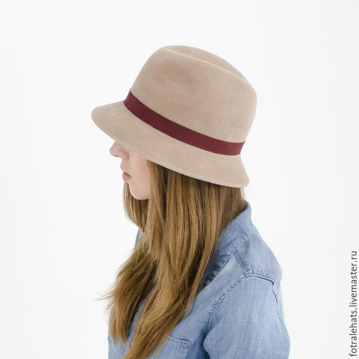Купить Шляпа федора бежевого цвета фетровая из пуха кролика - бежевый, шляпа, шляпка