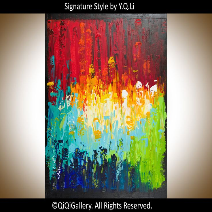 Art Abstract Painting Original Multicolored Impasto by QiQiGallery, $258.75
