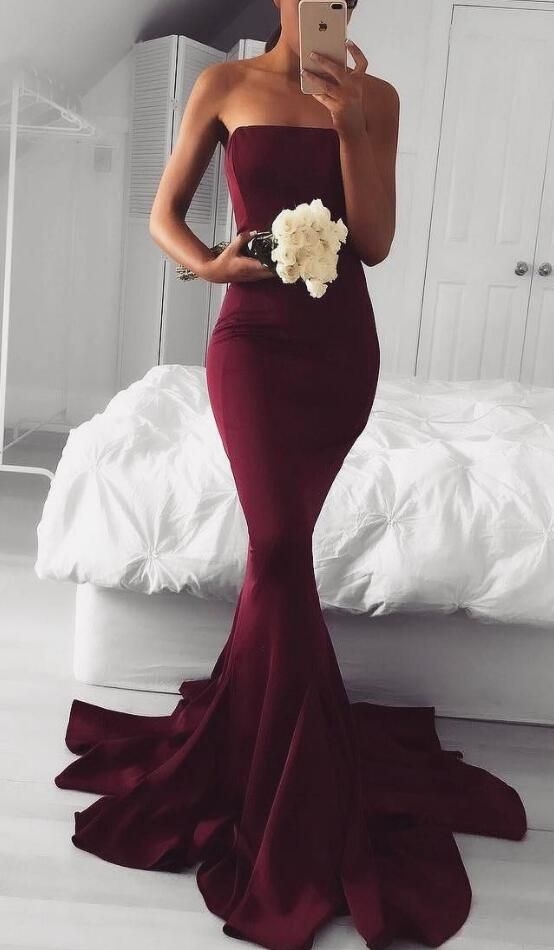 strapless burgundy long prom dress, 2017 bridesmaid dress, burgundy bridesmaid dress, long bridesmaid dress with train, mermaid bridesmaid dress