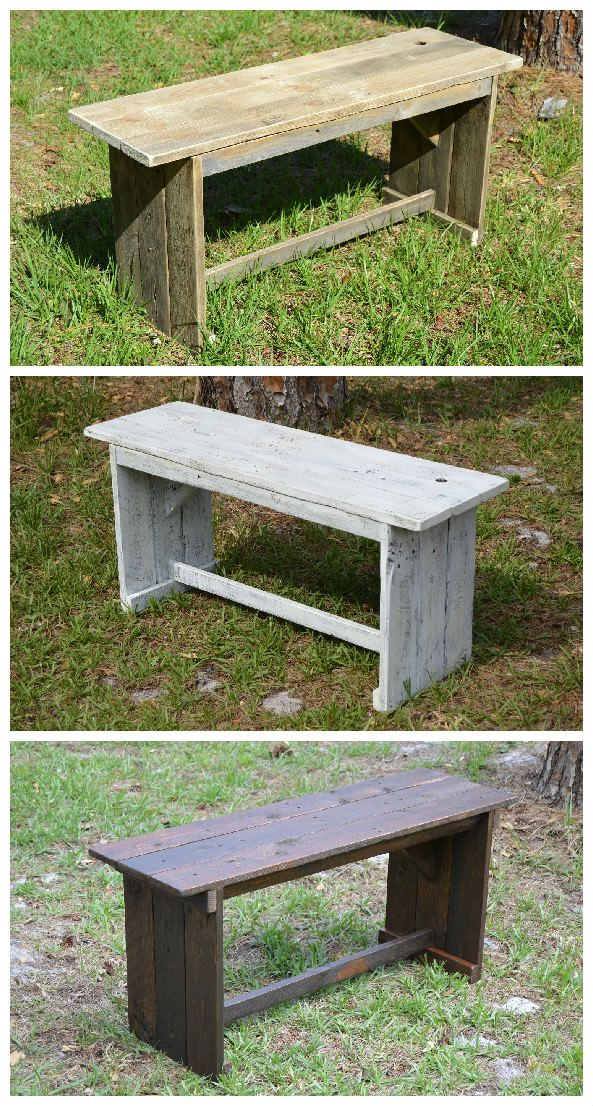 """I made these benches with a rustic look from recycled pallets to be light weight and yet sturdy. I make them in a variety of finishes and they can be used indoors or outside. [symple_box color=""""gray"""" fade_in=""""false"""" float=""""center"""" text_align=""""left"""" width=""""100%""""]…"""