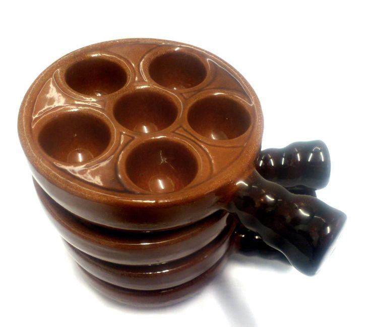 Vintage La Bourguignonne Pottery Escargot Snail Serving Dishes Set of 4