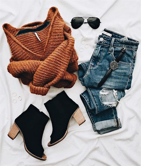 Cowl neck sweater, rolled up jeans, peep toe booties, aviators