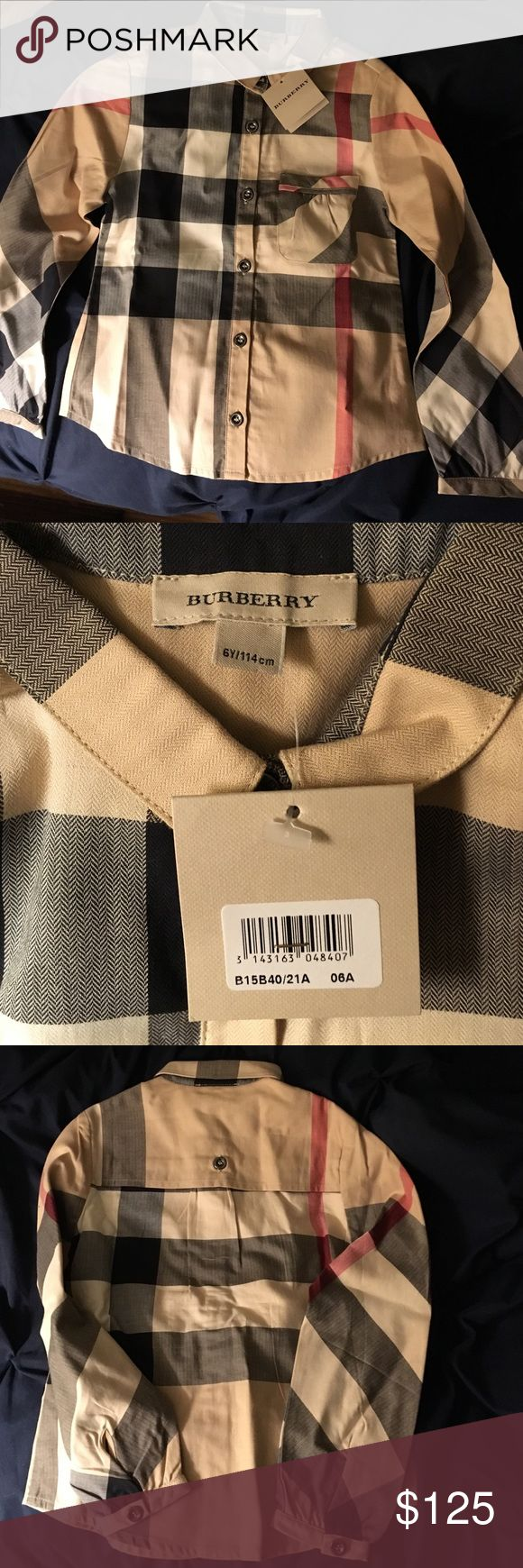 BURBERRY Youth size 6  Button down with tags New with tags! Burberry youth size 6 (size 6Y according to tags) button down with classic print Burberry Shirts & Tops Button Down Shirts