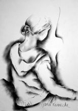 Girl sitting.charcoal on paper
