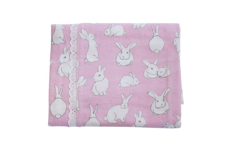 Pink Bunnies Cotton Flannelette Swaddle - Levi & Evelyn