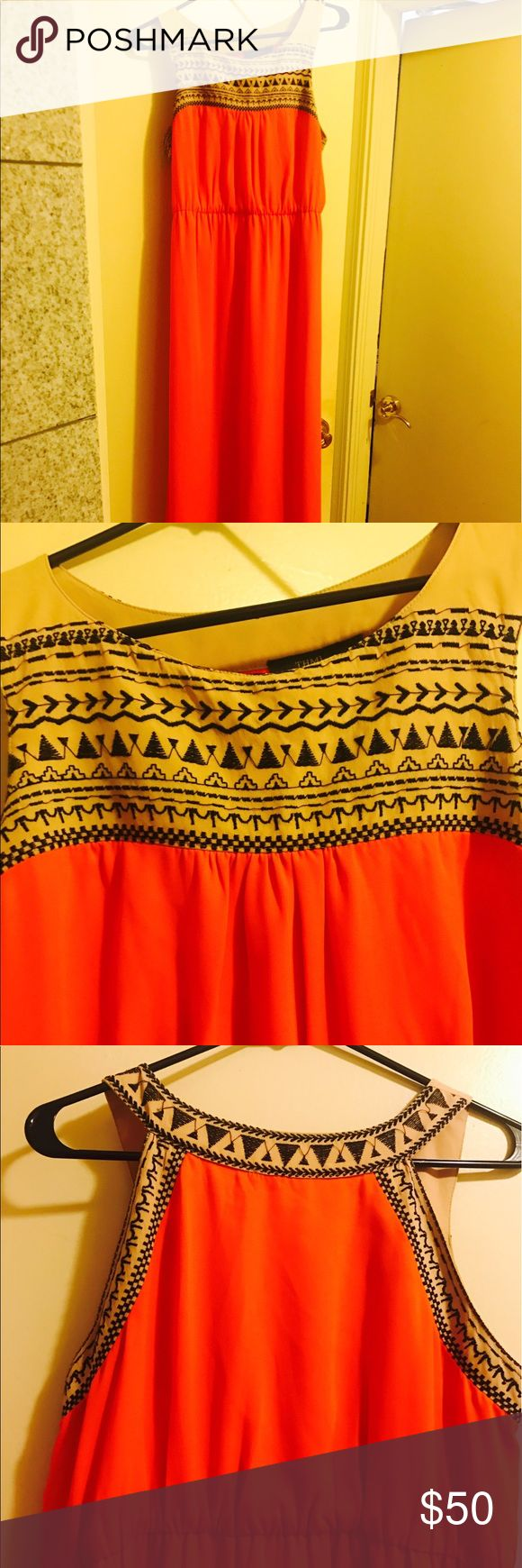 THML bright orange maxi dress, Aztec embroidery Worn once. Beautiful and elegant! And flattering! Fully lined. Bought from piperlime. THML Dresses Maxi