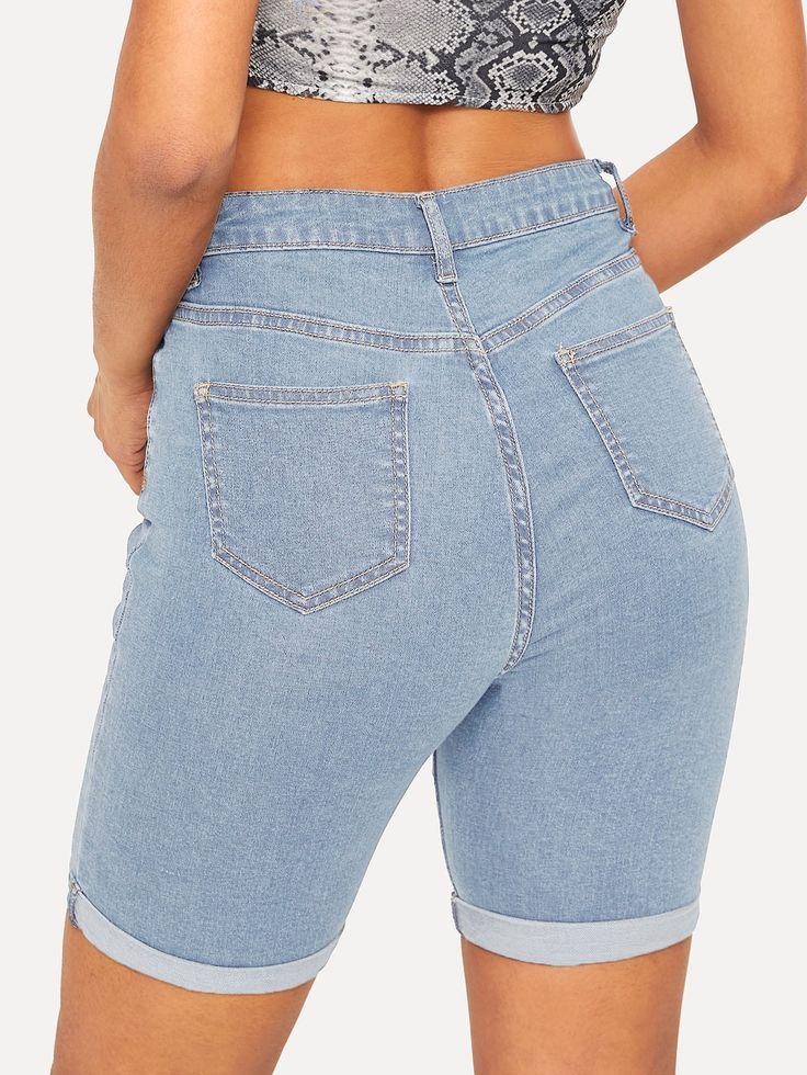 Ad: Rolled Hem Pocket Detail Denim Shorts. Tags: Denim, Casual, Cycling Shorts, ...