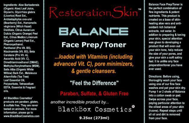 Restoration Skin Prep/Toner    shop.blackboxcosmetics.com/JC1071