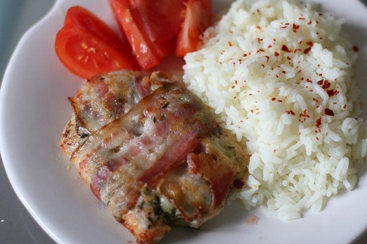 сочная и нежная куриная грудка с сыром и беконом