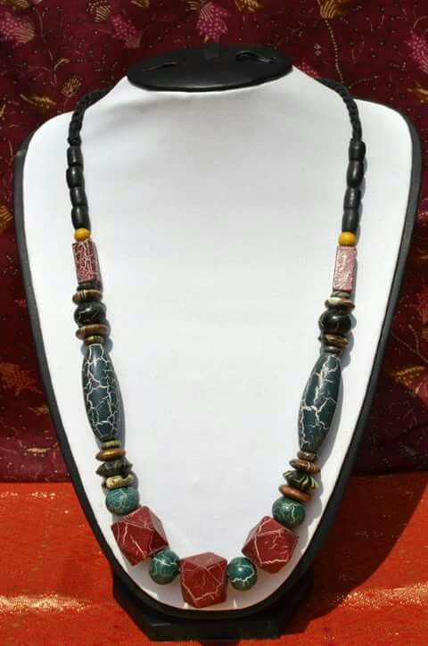 Necklace with special-designed wooden beads.
