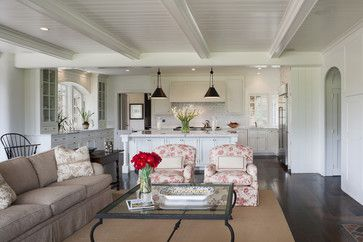 Savvy Mode: Remodeling Inspiration: White Plank Ceiling with Wood Beams